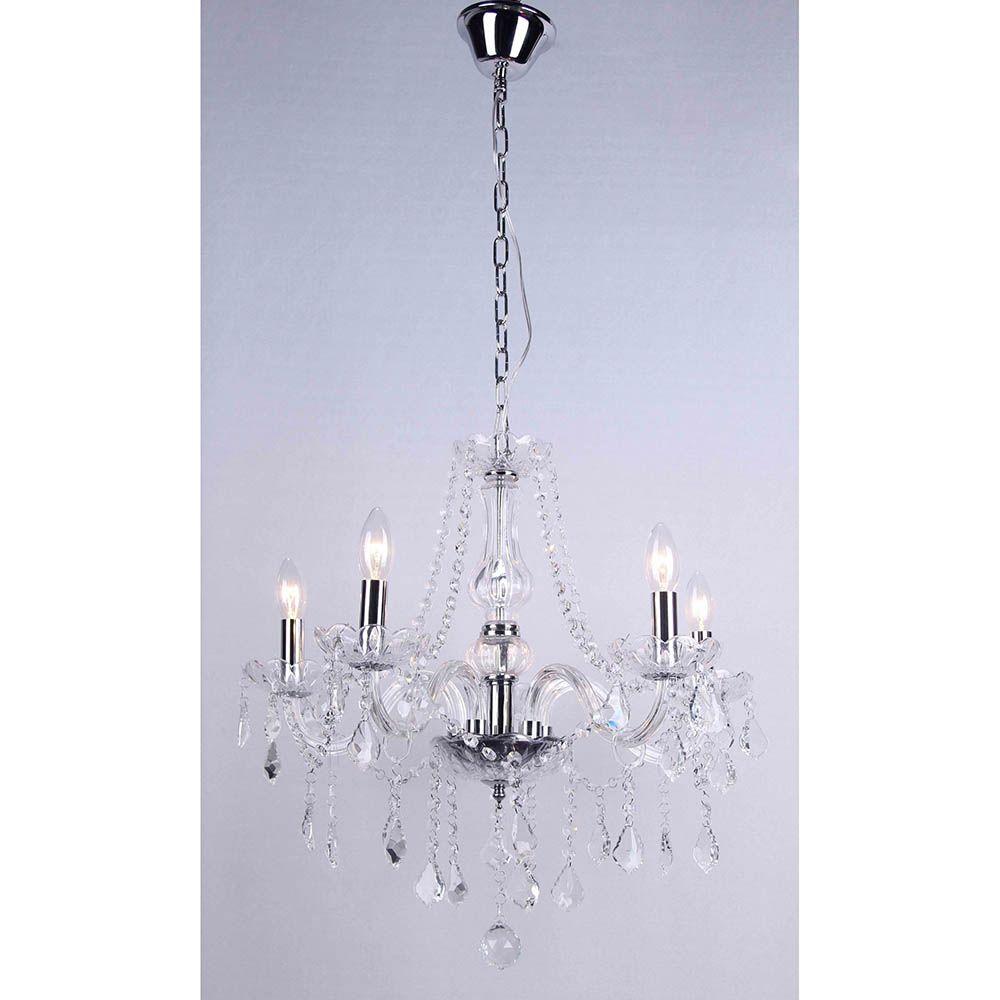 Lustre de Cristal Maria Thereza Transparente 5 Braços BL