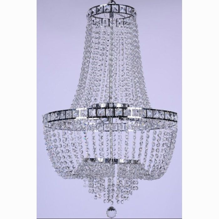 Lustre de Cristal para 21 Lâmpadas Fontana Gemelli Cromado BL