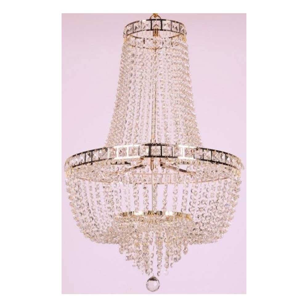 Lustre de Cristal para 21 Lâmpadas Fontana Gemelli Dourado BL