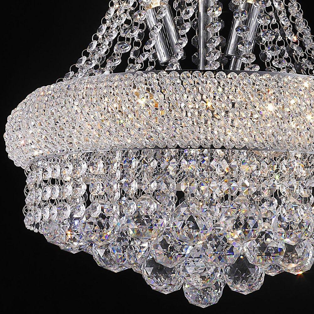 Lustre de Cristal Translúcido 8 Lâmpadas Ø36,5cm Mais Luz
