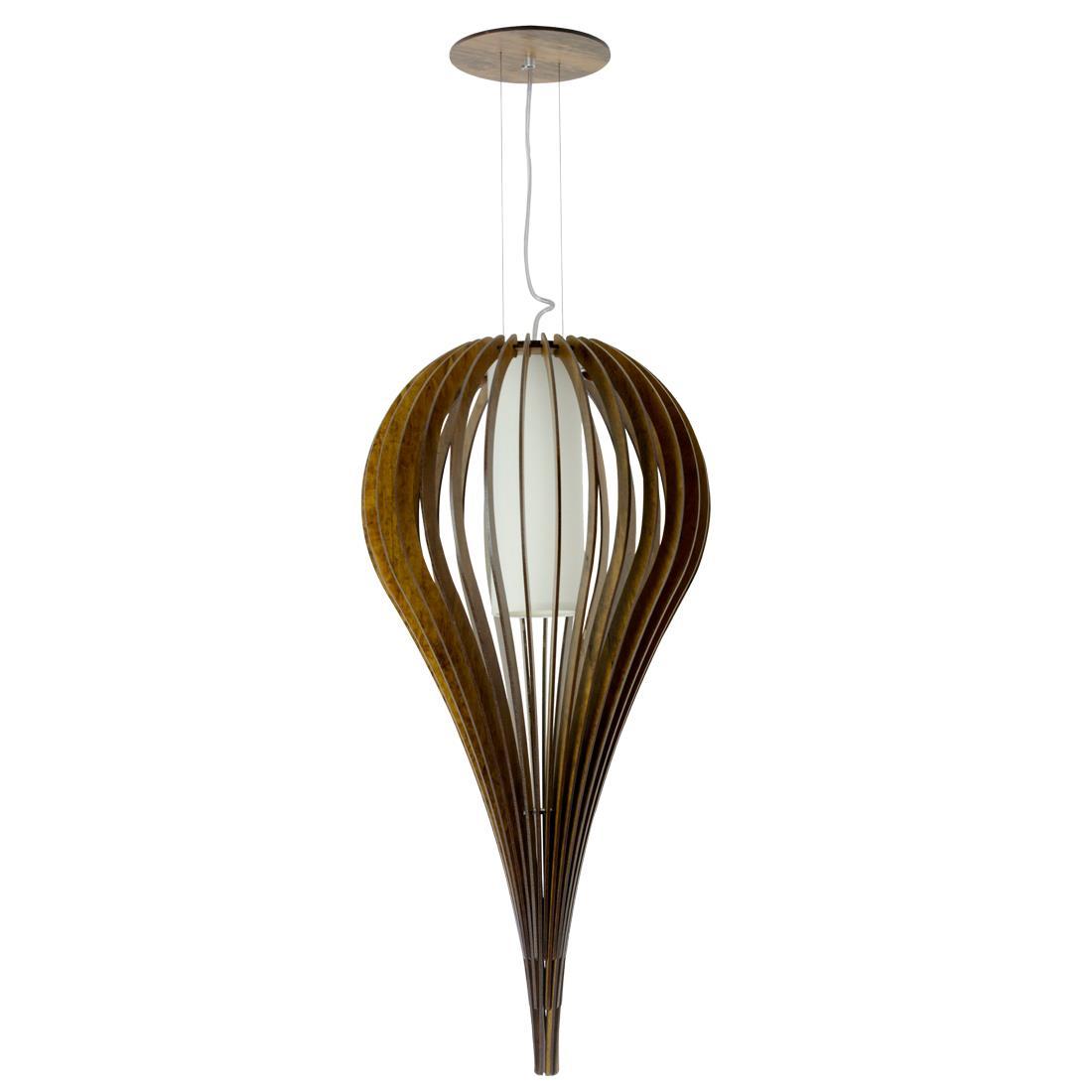 Lustre Luminária Capadócia  de Teto Pendente em Madeira 60cm x 32cm - Accord 1190