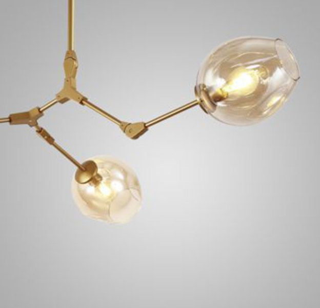 Lustre Orbe Connettori Dourado e Vidro Conhaque  Ø150cm Mais Luz