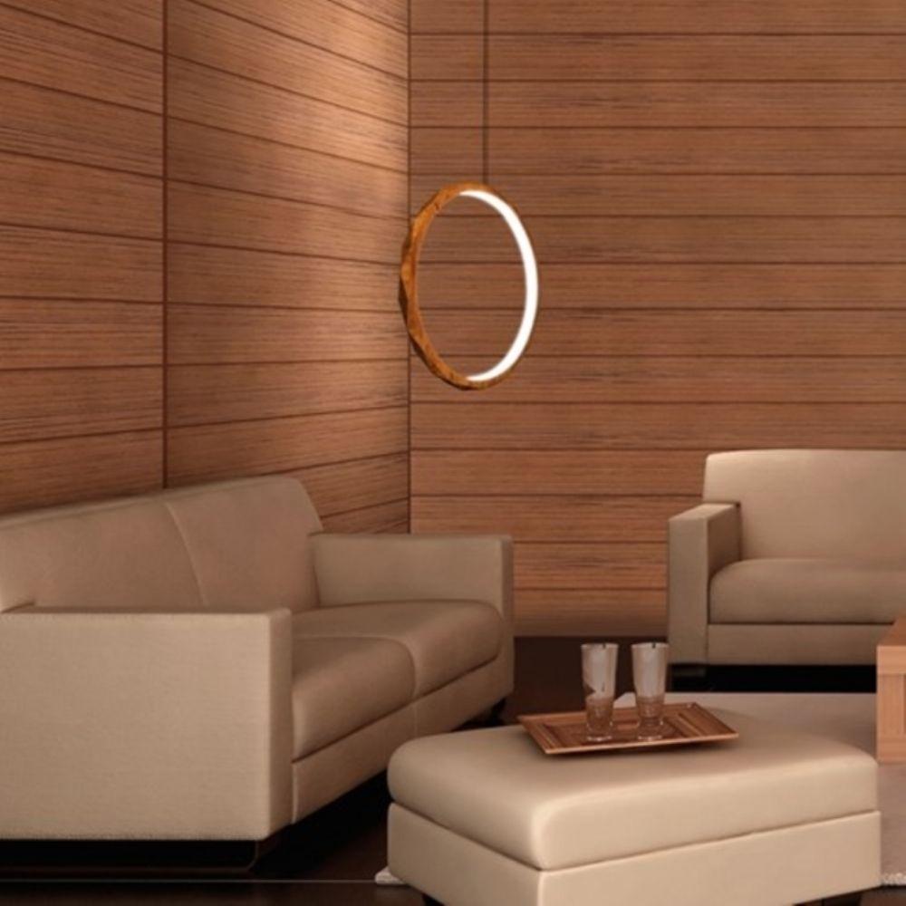 Lustre Pendente Anel Vertical LED 28w 2700k 60cm Madeira Imbuia