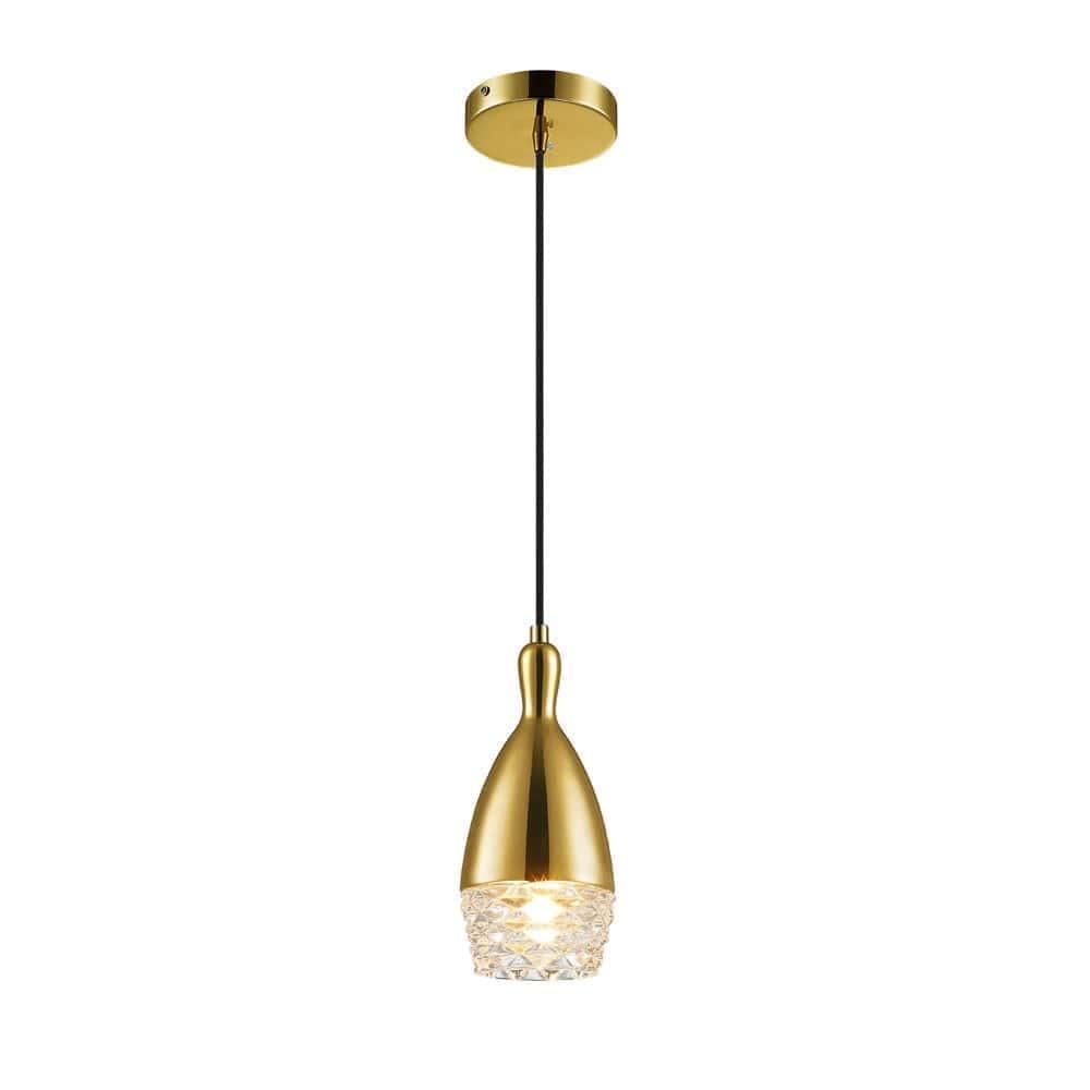 Pendente em Aço Dourado e Vidro transparente 10cm x 23cm Mais Luz