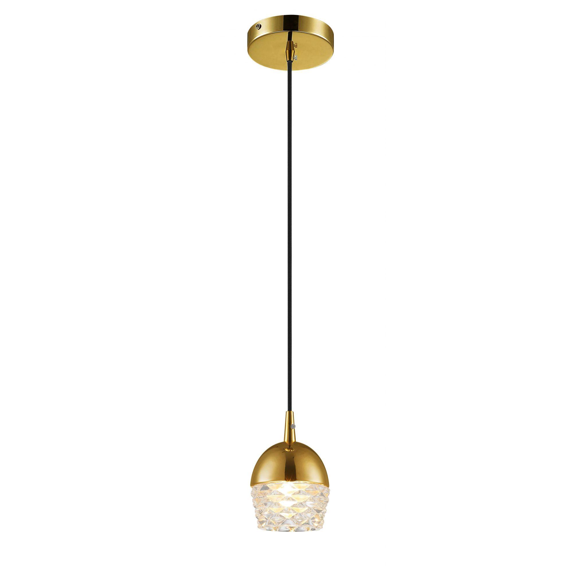 Pendente Elegante em Vidro e Aço Dourado 10cm x 14cm Mais Luz