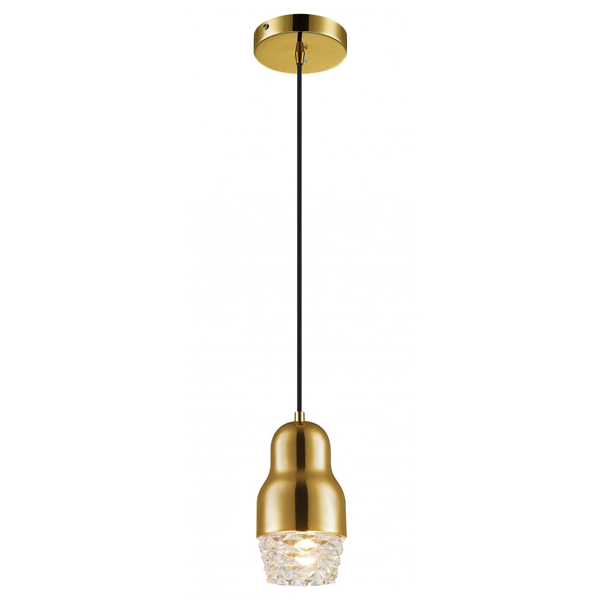 Pendente Elegante em Vidro e Aço Dourado 10cm x 20cm Mais Luz
