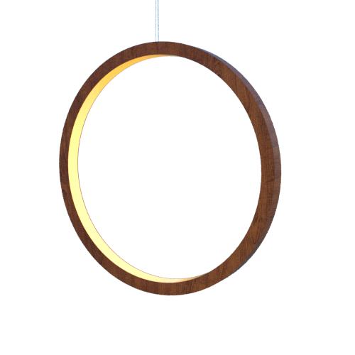 Lustre Pendente Anel Vertical LED 40w 2700k 100cm Madeira Imbuia
