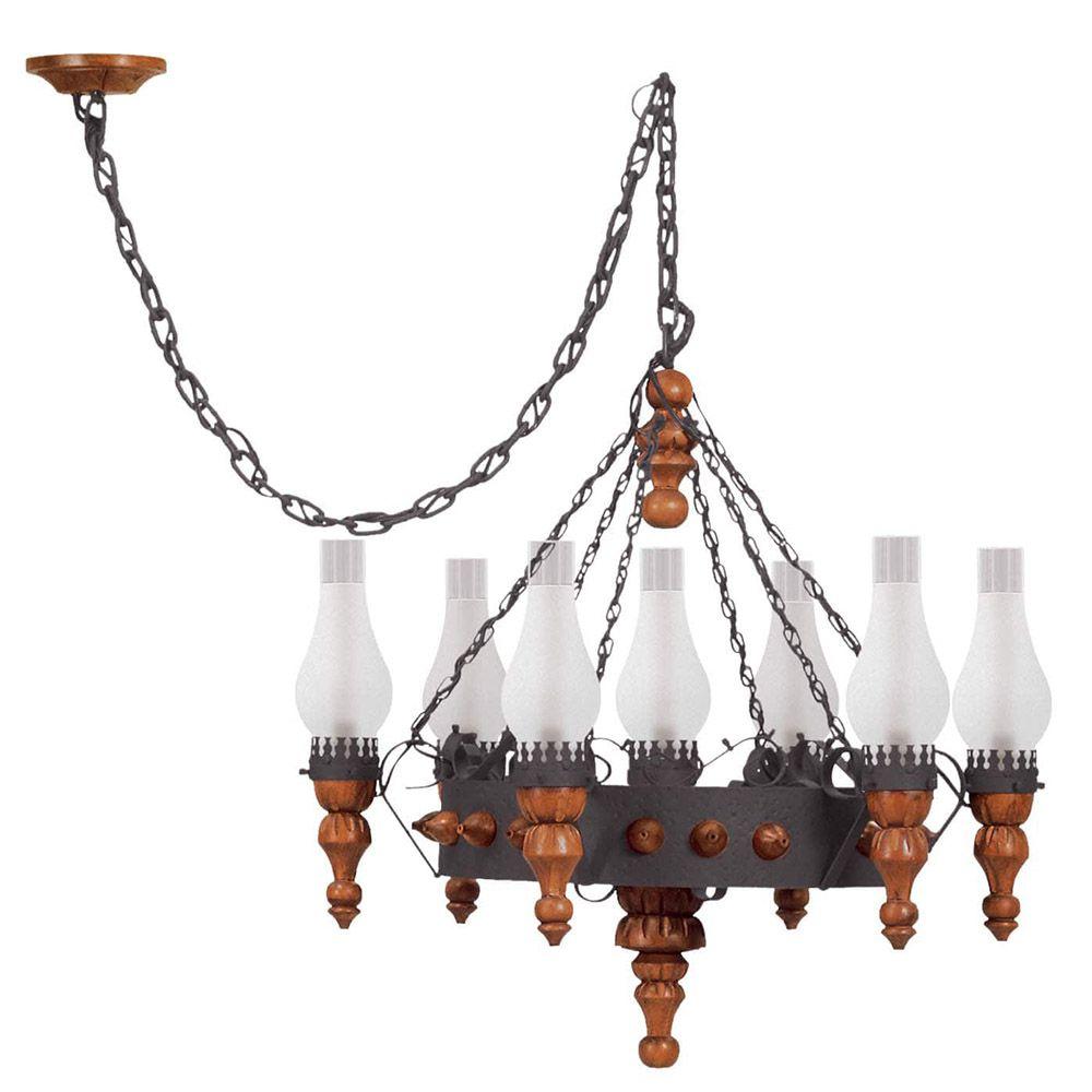 Lustre Pendente Medieval 7 lâmpadas Rústico Vintage Madelustre
