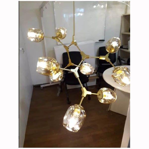 Lustre Pendente Moderno 9 Lâmpadas C107cm Dourado Krypton BL