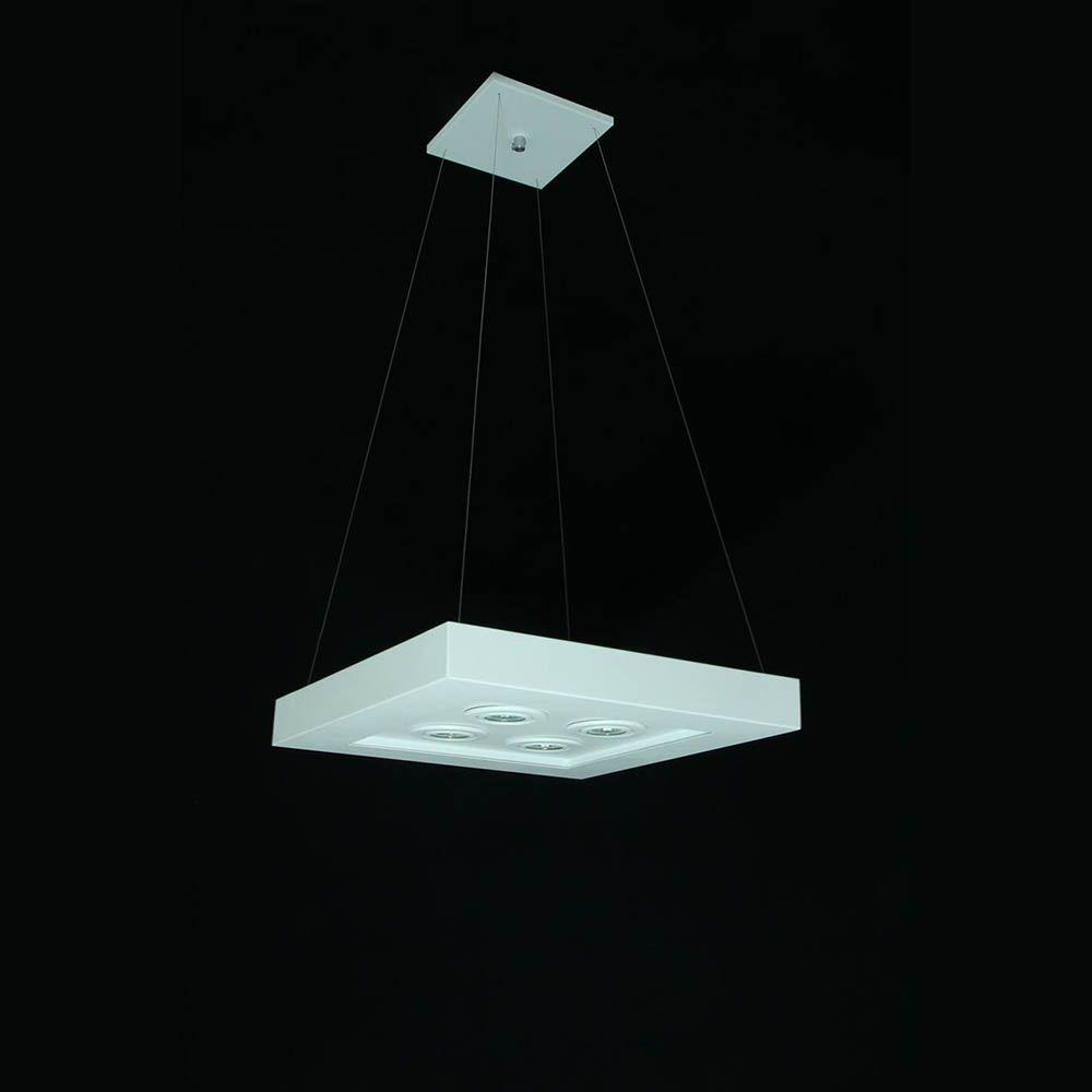 Pendente Quadrado 40x40cm Branco Luz Direta e Indireta RL