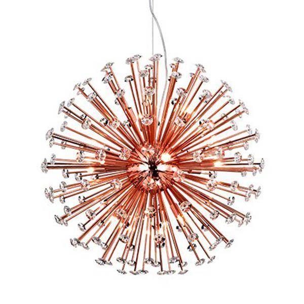 Lustre Pendente Moderno Rosé Ø60cm Redondo com Cristais Astro BL