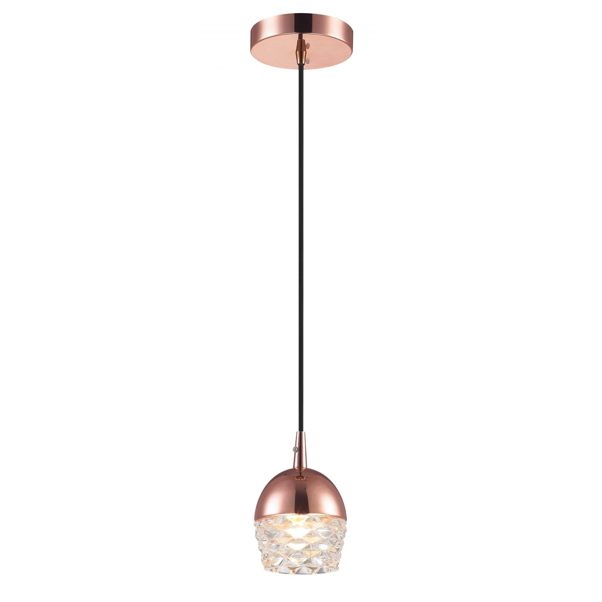 Pendente Elegante em Vidro e Ouro Rosè 10cm x 14cm Mais Luz