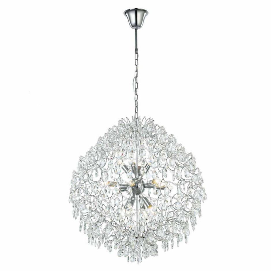 Lustre de Cristal e Aço Cromado Pear 60cm x 65cm Mais Luz