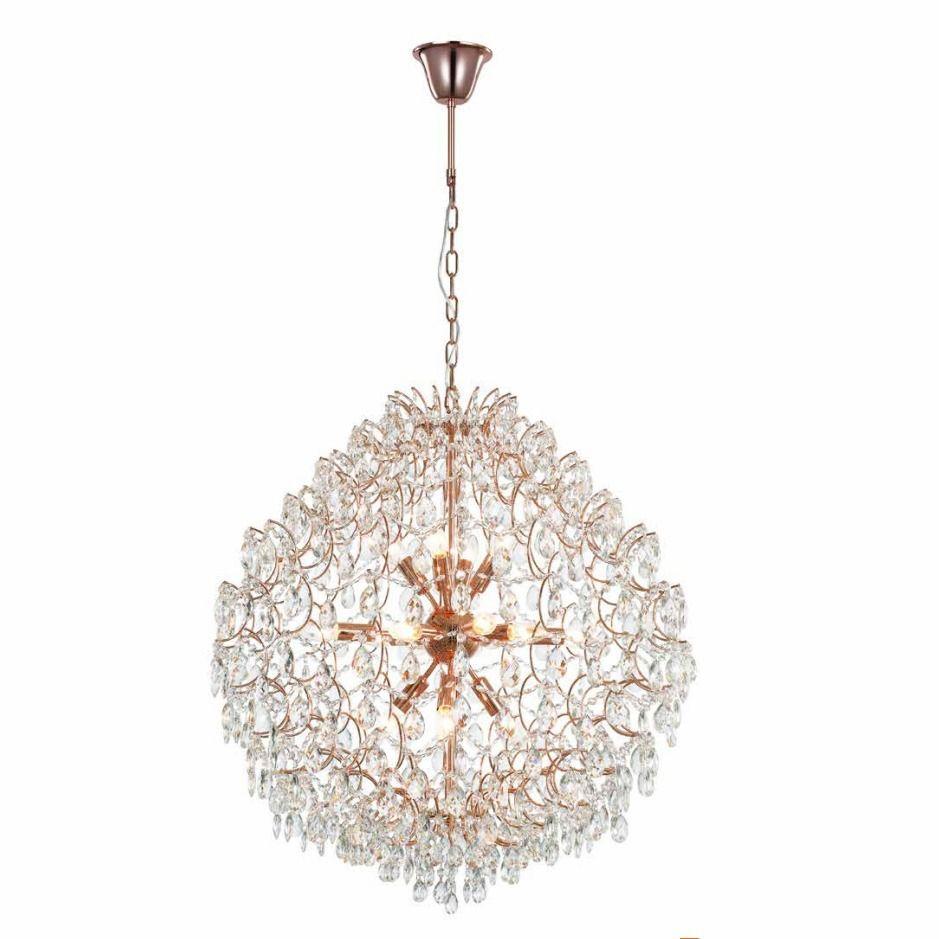 Lustre de Cristal e Aço ouro Rosè Pear 80cm x 85cm Mais Luz