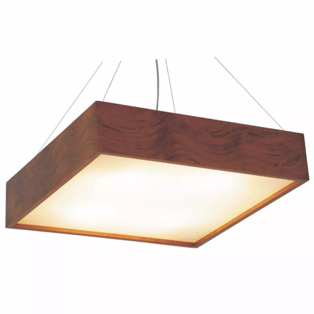 Luminária Pendente Quadrado 40x40cm em Madeira Imbuia