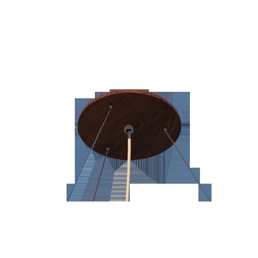 Lustre Pendente Redondo Cilíndrico 60x22cm em Madeira Imbuia