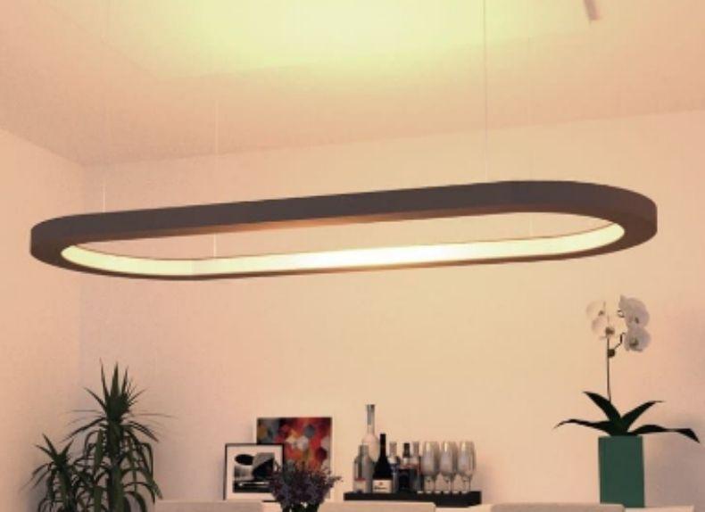 Lustre Pendente Retangular LED 35w 2700k 100cm em Madeira