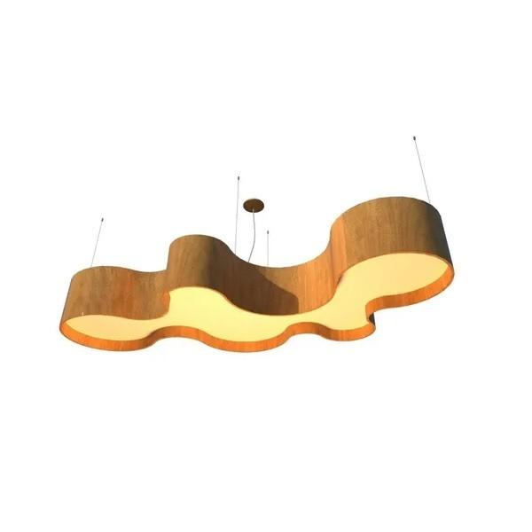 Lustre Pendente Semi Cilíndrico 145cm em Madeira Louro Freijó