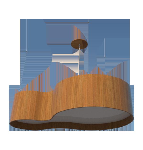 Lustre Pendente Semi cilíndrico 75cm em Madeira Louro Freijó