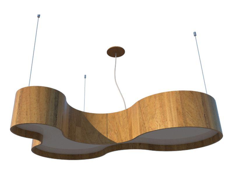 Lustre Pendente Semi Cilíndrico 80cm em Madeira Louro Freijó