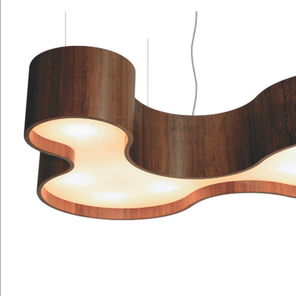 Lustre Pendente Semi Cilíndrico em Madeira 80cm - Accord 1216