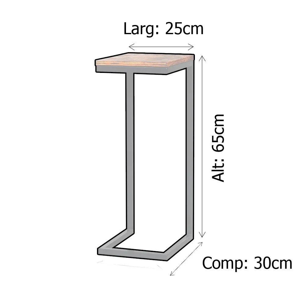 Mesa de Apoio Lateral Sofá Industrial 65cm Preta Madeira Imbuia