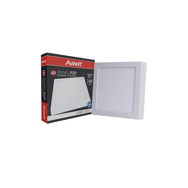 Painel Plafon 24w Led Sobrepor Quadrado Teto Branco Frio