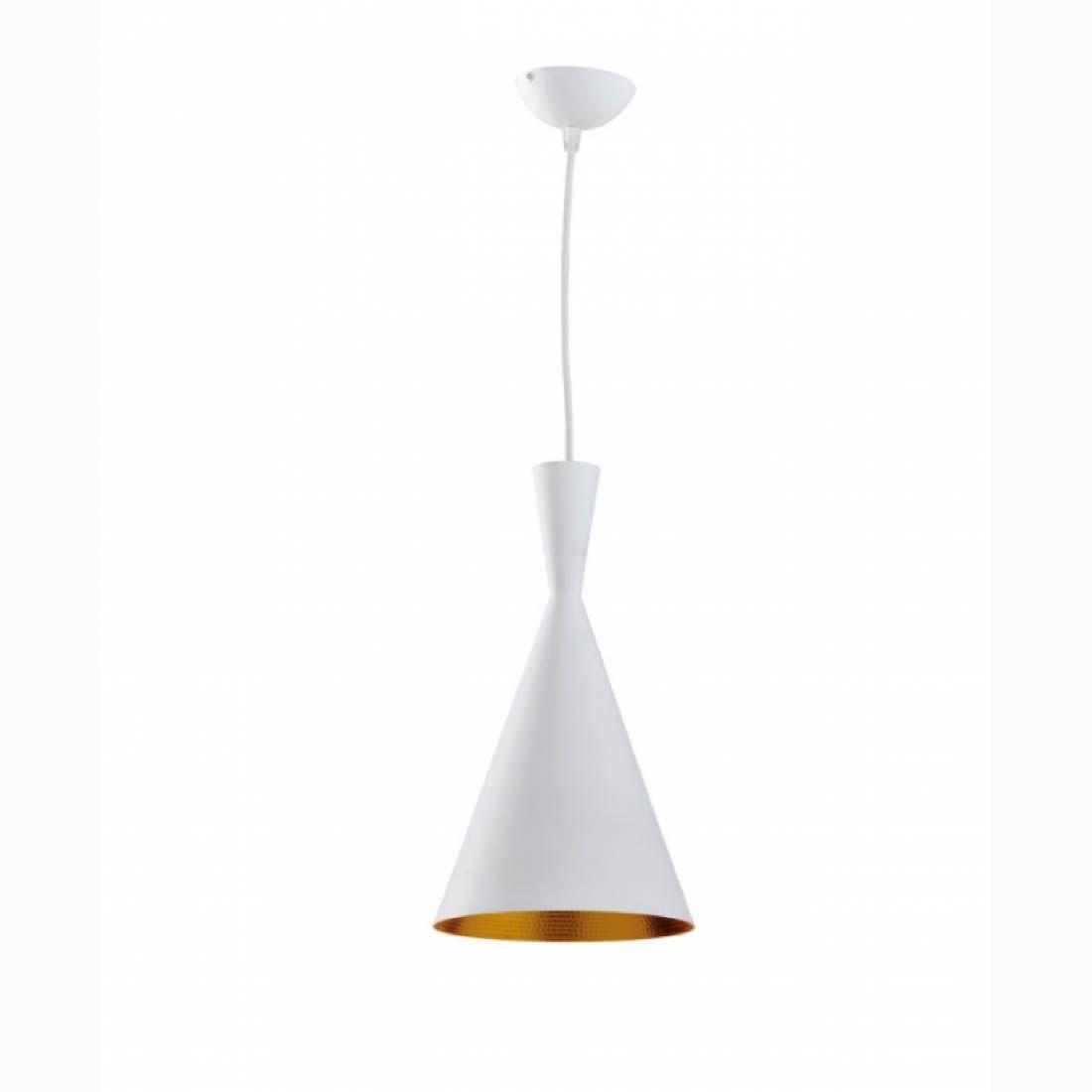 Pendente 1 Lampada Alumínio Oxford Tall Branco e dourado
