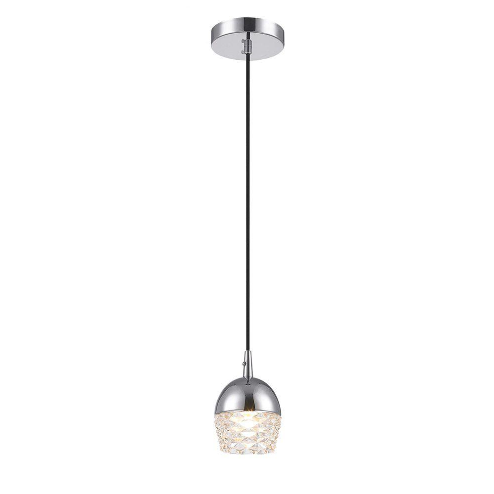 Pendente 1 Lâmpada Elegante em Vidro e Aço Cromado 10cm x 14cm Mais Luz