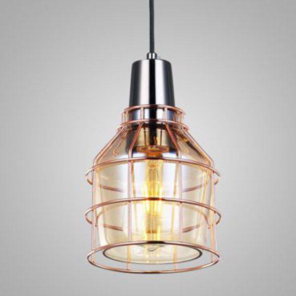 Pendente 1 Lâmpada Shiny Vidro Conhaque e Aramado Ouro Rosè 15,5cm x 22cm Mais Luz