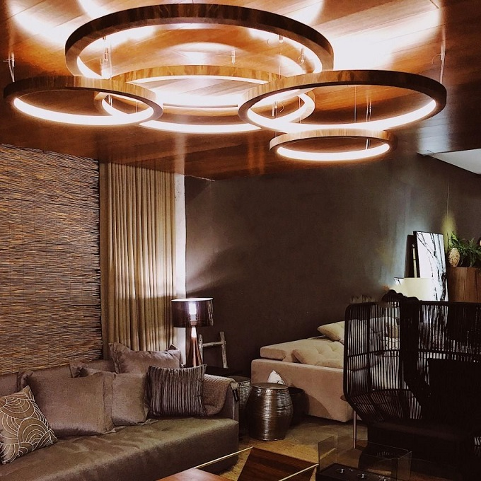 Pendente Anel 50cm LED 15w 2700k em Madeira Imbuia