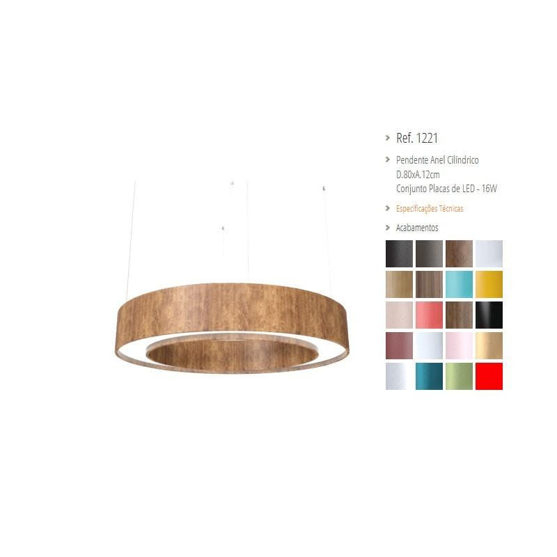 Pendente Anel Cilíndrico Madeira e Acrílico com LED 12cm x 80cm- Accord 1221CO