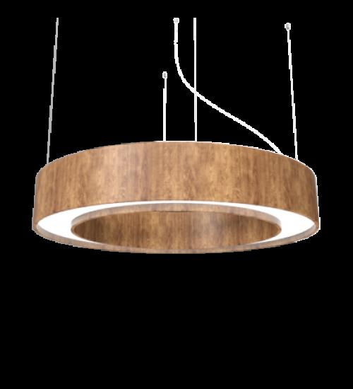 Pendente Anel Cilíndrico Madeira e Acrilíco com LED 12cm x 80cm - Accord 1221A