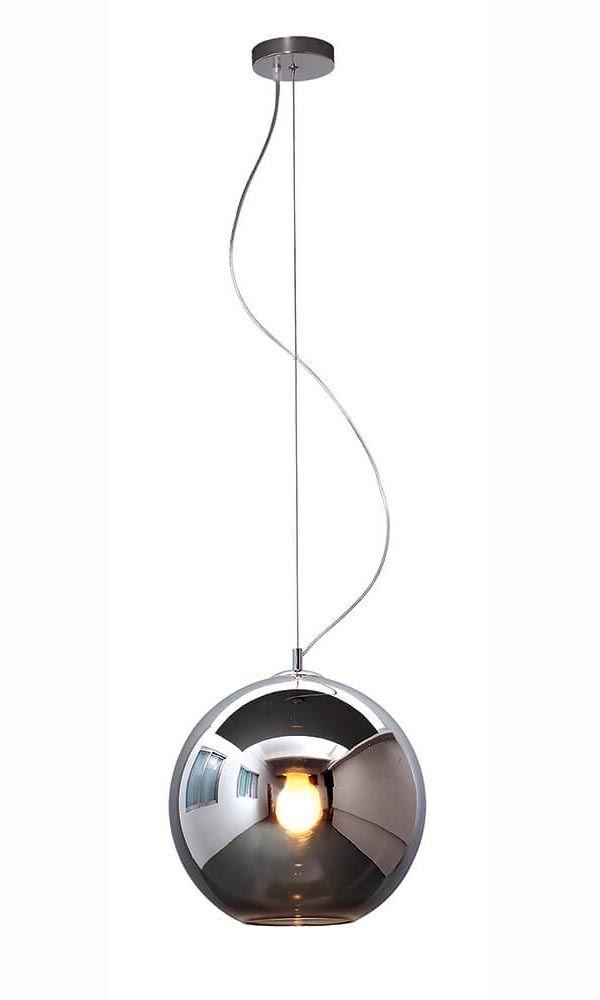 Pendente Bola Esfera Ø25cm Vidro Fumê e Aço Cromado Mais Luz
