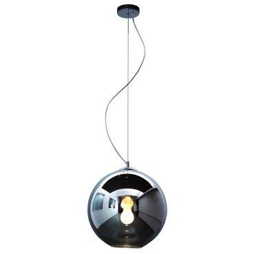 Pendente Bola Esfera Ø40cm Vidro Fumê e Aço Cromado Mais Luz