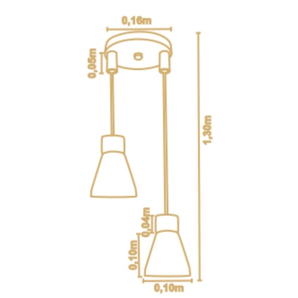 Pendente Bruna 2 Lamp Castanho Preto Madelustre