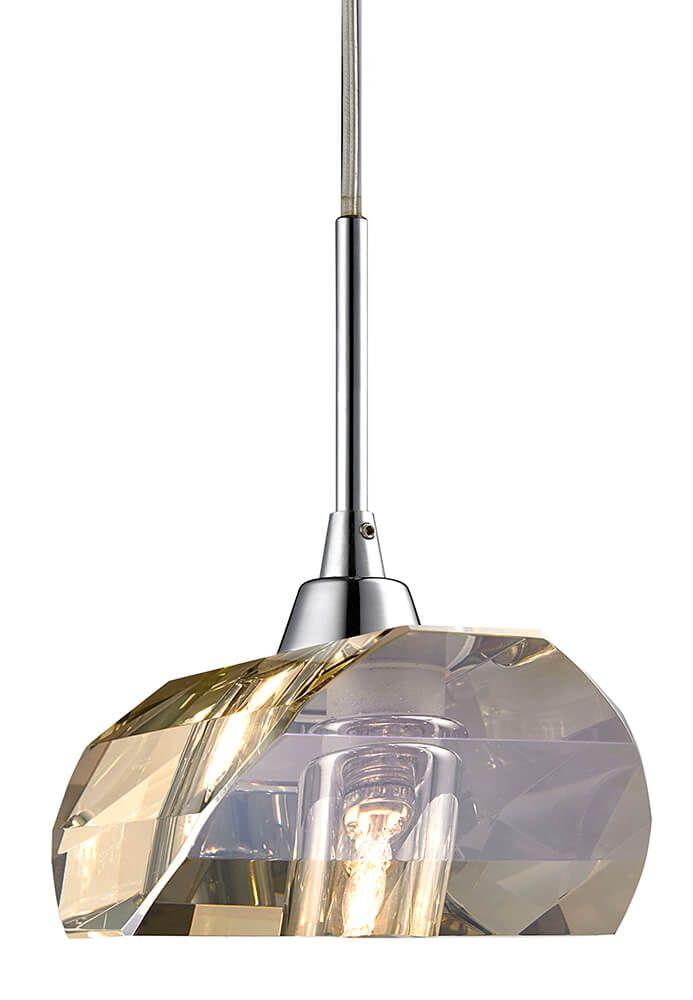Pendente de Cristal Conhaque e Aço Cromado 14cm Mais Luz