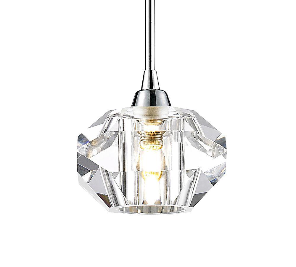 Pendente Cristal Lapidado Transparente 14cm Aço Cromado Mais Luz