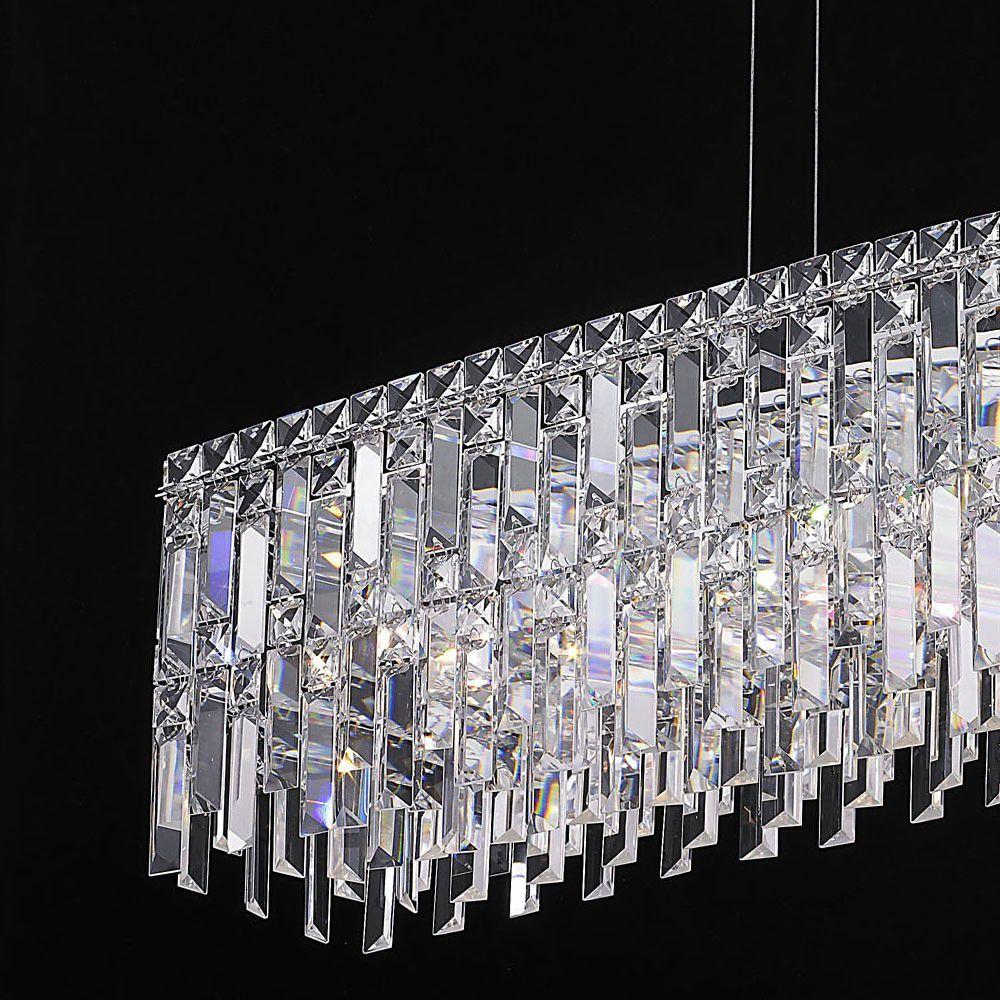 Lustre de Cristal Retangular 90cm e Aço Cromado Mais Luz