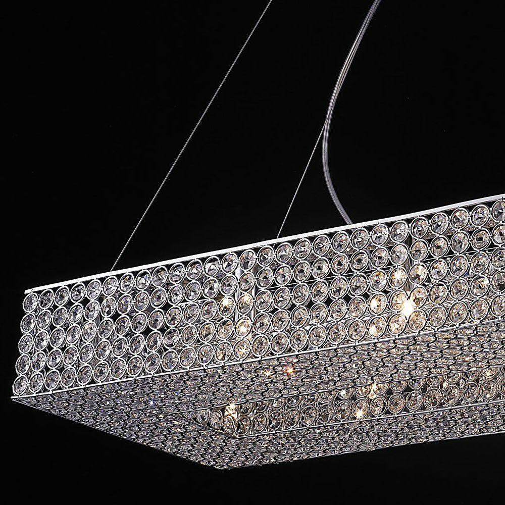 Lustre de Cristal Retangular 80cm e Aço Cromado Mais Luz