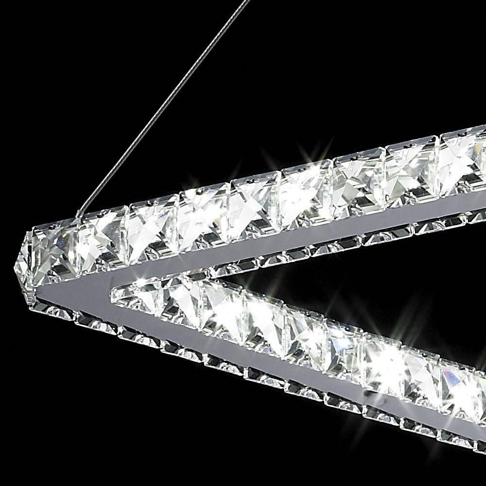 Lustre de Cristal e Aço 67cm Quadrado com LED  Mais Luz