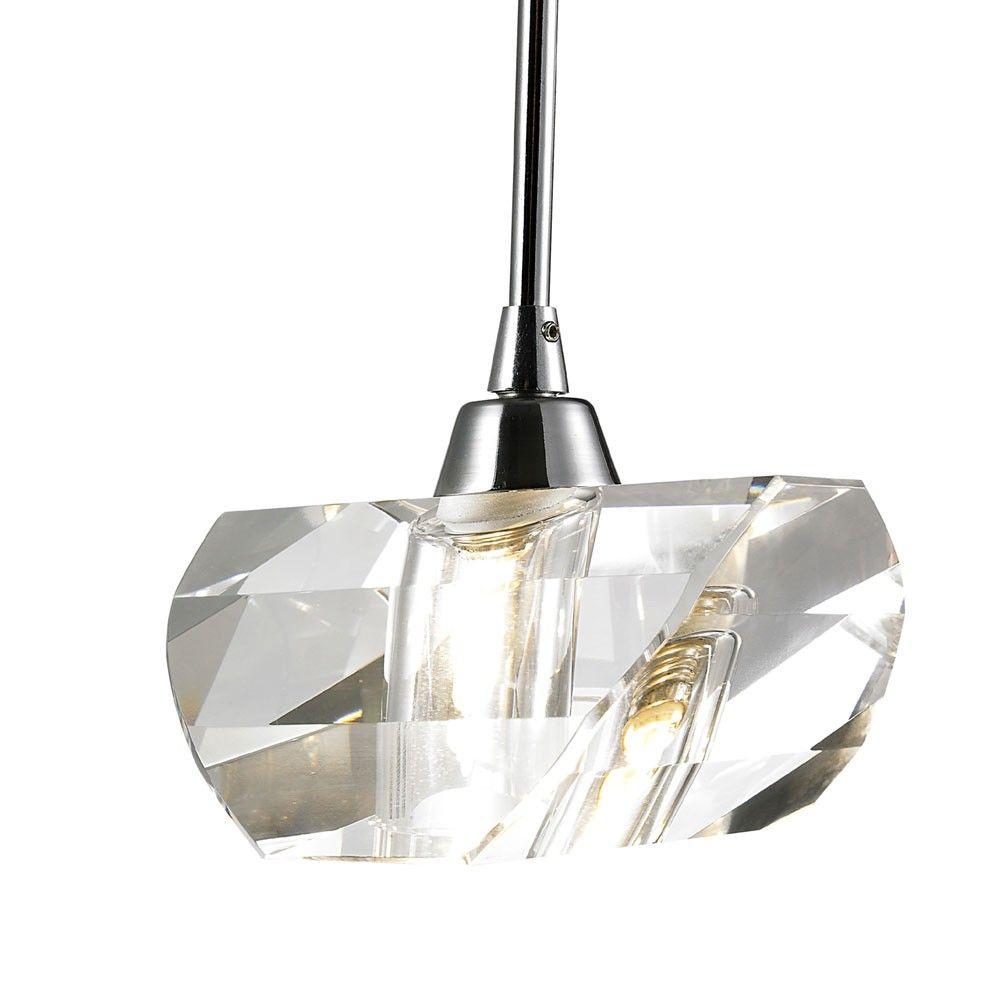 Pendente de Cristal Translúcido e Aço Cromado  14cm Mais Luz