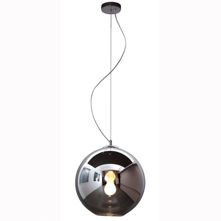 Pendente Bola Esfera Ø35cm Vidro Fumê e Aço Cromado Mais Luz