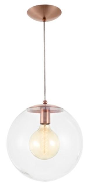 Pendente Redondo Esfera 30cm Vidro Cristal 1 Lâmpada Madelustre