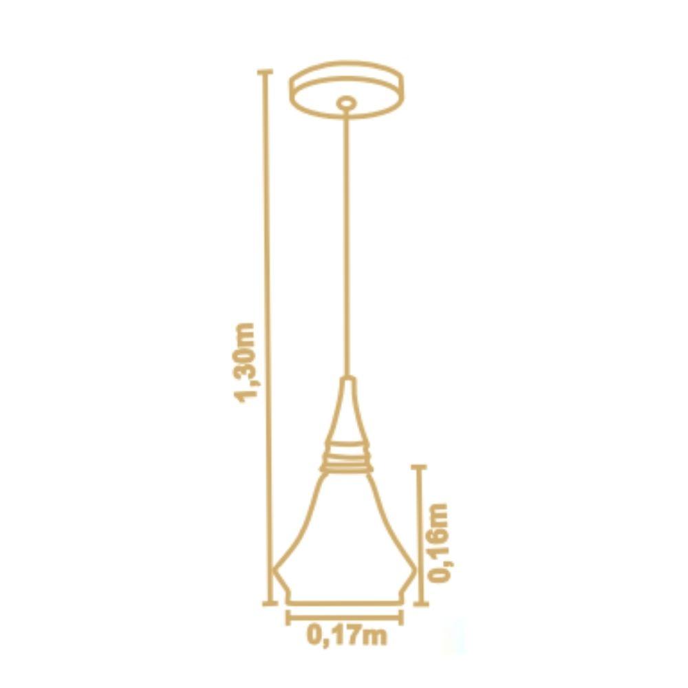 Pendente Flow Piramidal 17cm 1 Lamp Castanho Madelustre