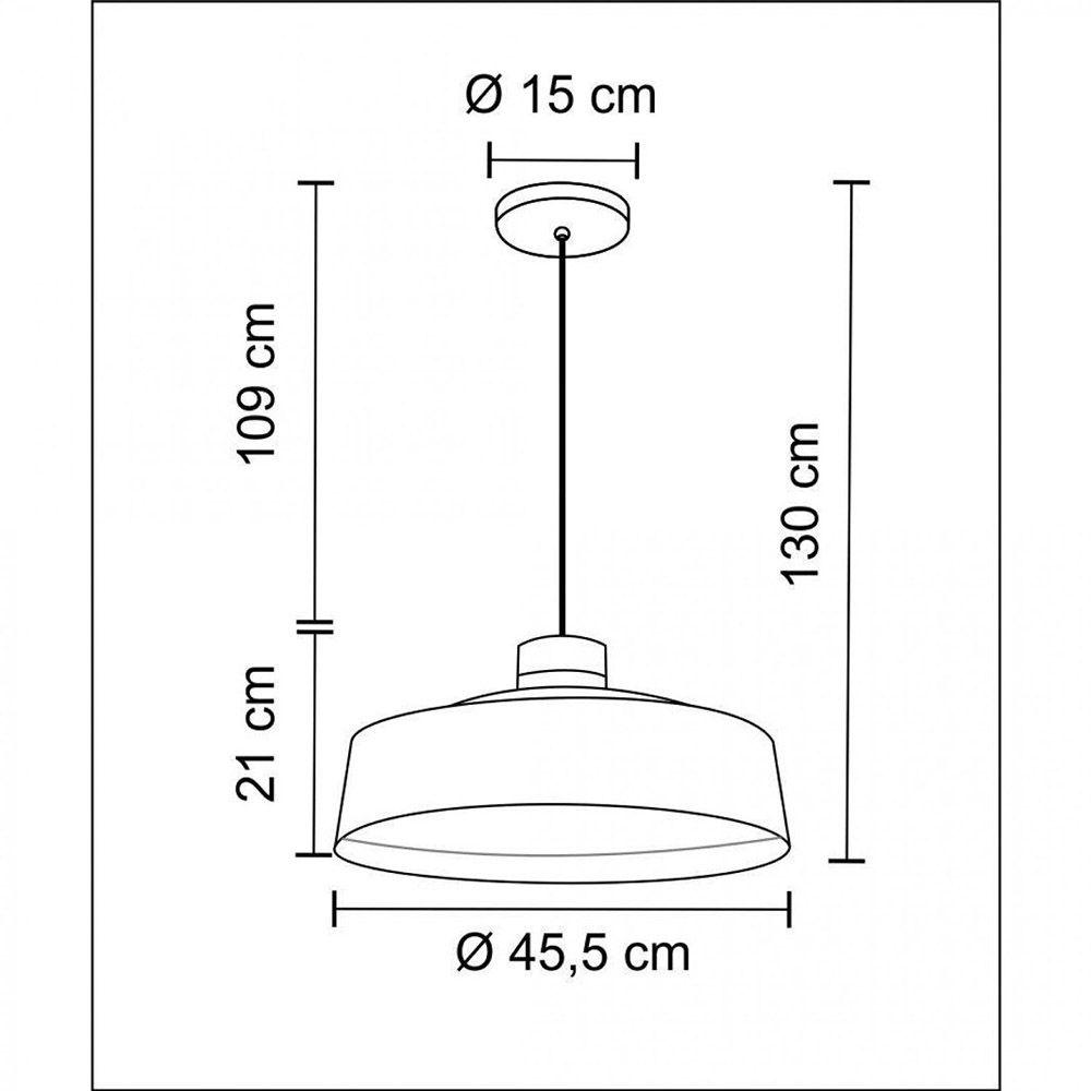 Pendente Industrial em Metal e Madeira Vibrance 45.5cm Preto Madelustre