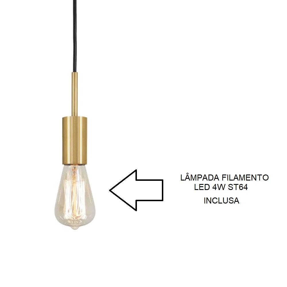 Pendente Infinite Dourado + Lâmpada LED 4w ST64 Quente Bivolt - TKS