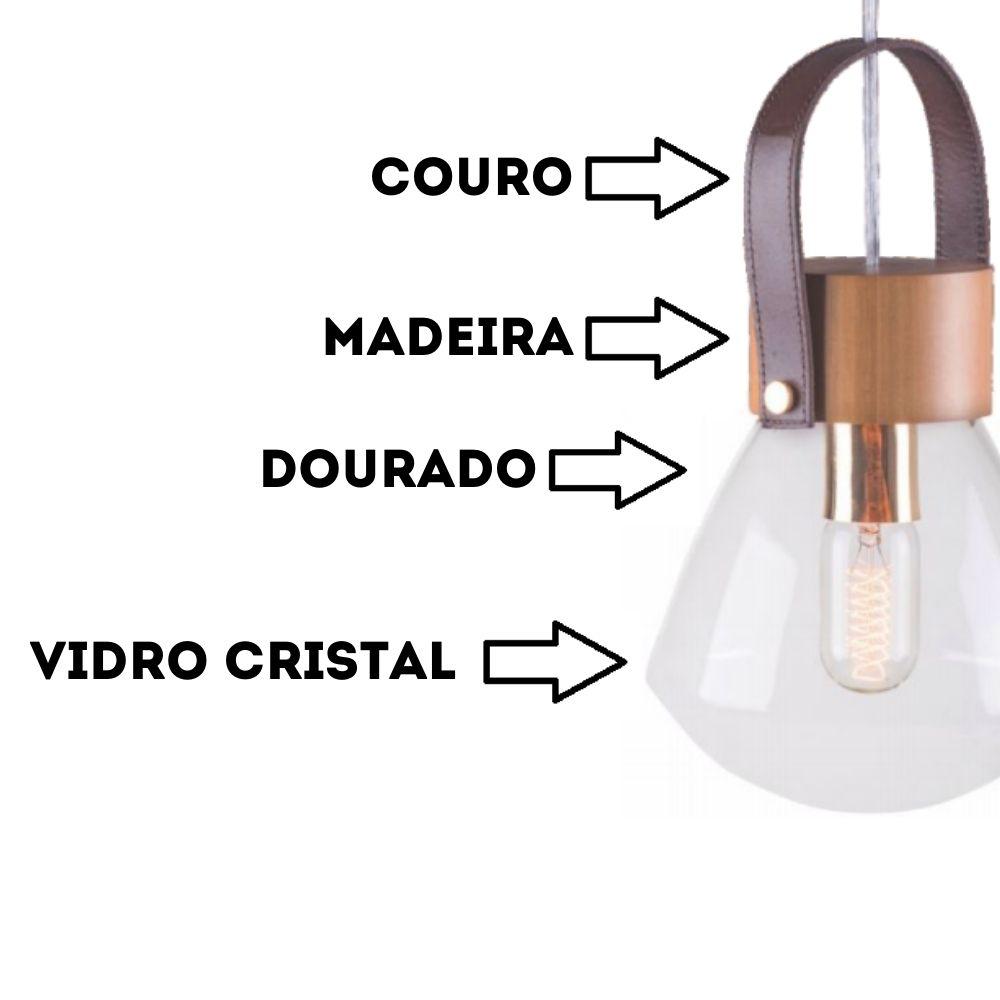 Pendente Lampadari Médio 29cm 1 Lamp Castanho Madelustre