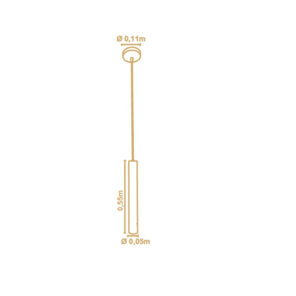 Pendente Tubo Legno 55cm 1 Lamp Madeira Castanho Madelustre