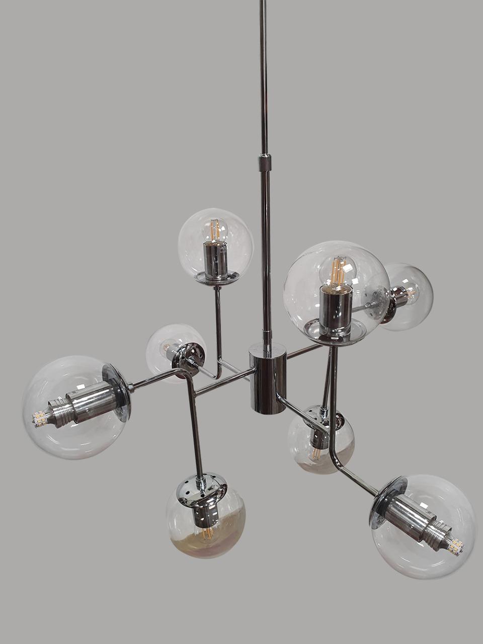 Pendente Moderno 10 Lâmp 73cm Cromado Com Cúpulas de Vidro BL